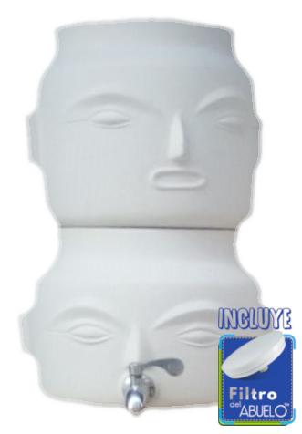 Filtro dispensador idenvivus CHULUCANAS AGUA DE LA ABUELA blanco crudo logo